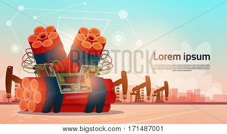Bombing Terrorism Pumpjack Oil Rig Crane Platform Wealth Concept Flat Vector Illustration