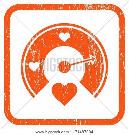 Love Gauge rubber watermark. Vector pictogram symbol inside rounded rectangle with grunge design and dust texture. Stamp seal illustration. Unclean orange ink sticker on a white background.