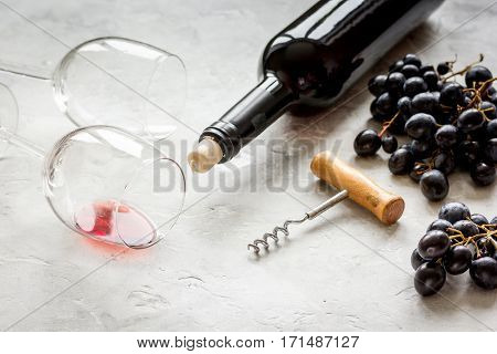 Wine set for restaurant menu with bottle and grape on white background
