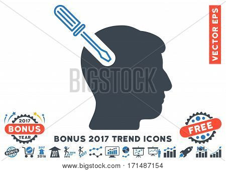 Smooth Blue Head Surgery Screwdriver pictograph with bonus 2017 trend design elements. Vector illustration style is flat iconic bicolor symbols white background.