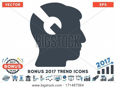 Smooth Blue Head Surgery Wrench pictograph with bonus 2017 year trend images. Vector illustration style is flat iconic bicolor symbols white background.