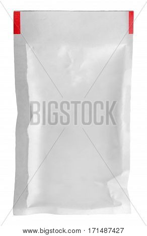 Clear white packet vertically isolated on white background