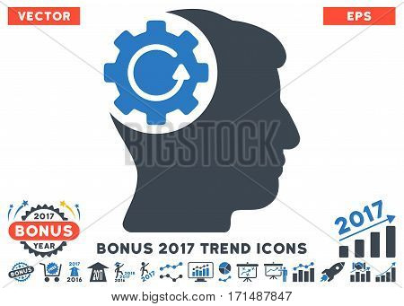 Smooth Blue Intellect Gear Rotation pictogram with bonus 2017 trend images. Vector illustration style is flat iconic bicolor symbols white background.
