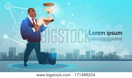 African American Business Man Hold Sand Watch Deadline Time Management Concept Flat Vector Illustration