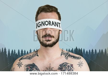 Ignorant illustration hide eyes man