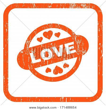 Love Stamp Seal rubber watermark. Vector pictogram symbol inside rounded rectangle with grunge design and scratched texture. Stamp seal illustration. Unclean orange ink sticker on a white background.