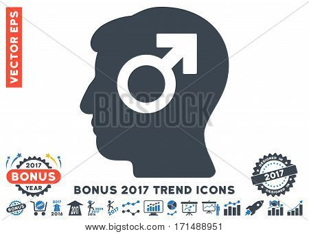 Smooth Blue Mind Potency icon with bonus 2017 year trend symbols. Vector illustration style is flat iconic bicolor symbols white background.