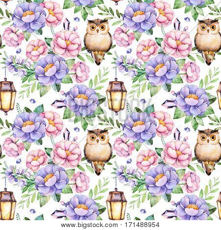 Lovely Seamless pattern with flowers, peonies, leaves cute owl,night lamp