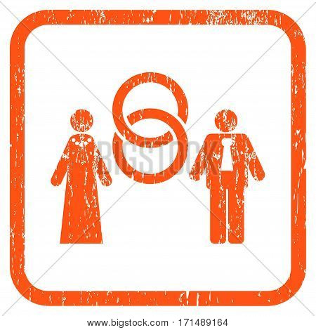 Marriage Persons rubber watermark. Vector pictogram symbol inside rounded rectangle with grunge design and dirty texture. Stamp seal illustration. Unclean orange ink sign on a white background.