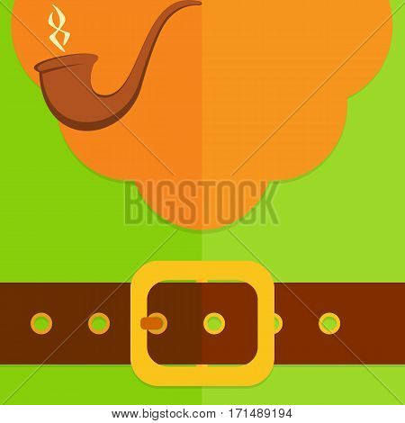Background of green leprechaun costume with belt, buckle, red beard and smoking pipe, illustration.