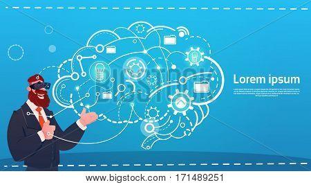 Business Man Wear Digital Reality Glasses Brainstorming Briefing Idea Creative Concept Flat Vector Illustration