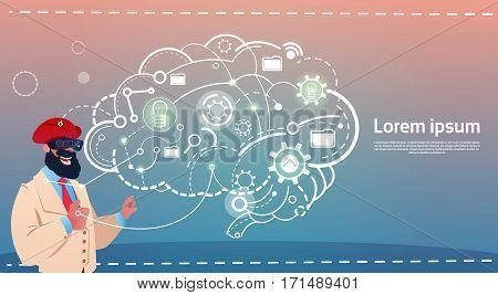 Arab Business Man Wear Digital Reality Glasses Brainstorming Briefing Idea Creative Concept Flat Vector Illustration