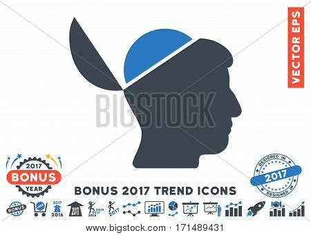 Smooth Blue Open Brain pictograph with bonus 2017 year trend icon set. Vector illustration style is flat iconic bicolor symbols white background.