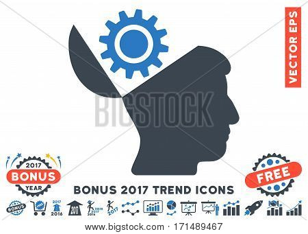 Smooth Blue Open Head Gear icon with bonus 2017 trend design elements. Vector illustration style is flat iconic bicolor symbols white background.