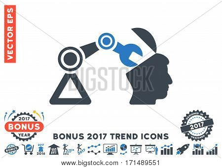 Smooth Blue Open Head Surgery Manipulator icon with bonus 2017 trend elements. Vector illustration style is flat iconic bicolor symbols white background.