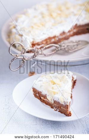 A slice of carrot cake, gluten-free, flour from rice, flax. Selective focus.