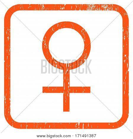 Venus Female Symbol rubber watermark. Vector pictogram symbol inside rounded rectangle with grunge design and dust texture. Stamp seal illustration. Unclean orange ink emblem on a white background.