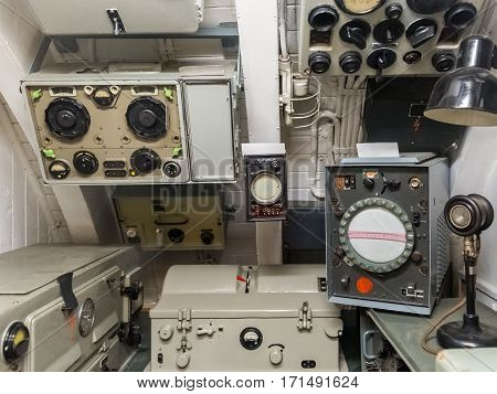 equipment in the radio room of the old ship