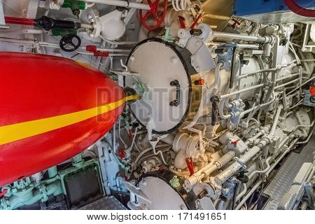 image of torpedo room in a submarine