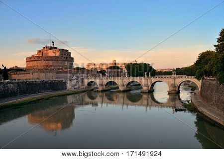 Castel Sant Angelo and bridge over River Tiber in Rome, Italy.