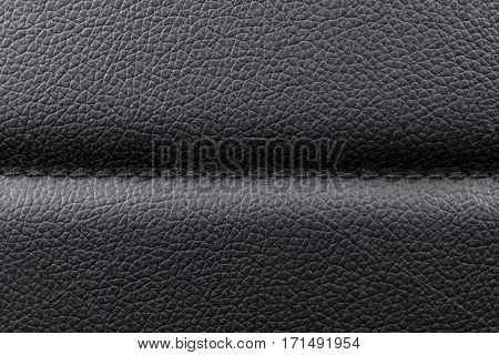 lack leather texture background with stitching, close up