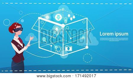 Business Woman Wear Digital Reality Glasses Brainstorming Briefing Idea Creative Concept Flat Vector Illustration