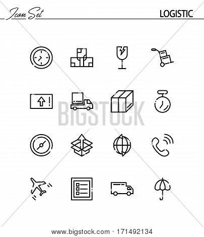 Logistic flat icon set. Collection of high quality outline symbols for web design, mobile app. Logistic vector thin line icons or logo.