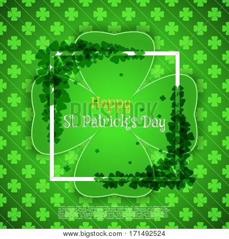Vector Happy St. Patrick's Day card on the green pattern background with label cut from paper shadow text white frame and clover leaves arranged at corners.