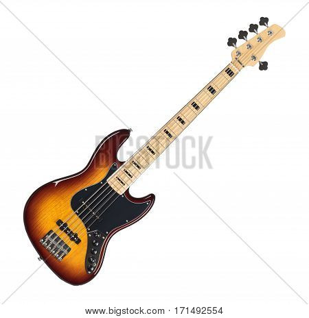 Sunburst Finish Electric Bass Guitar Isolated on White Background