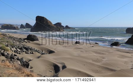 The Oregon Coast - Looking south along an unnamed beach on the southern coast of Oregon. Photographed near Arch Rock Picnic Area on the Samuel H. Boardman State Scenic Corridor.