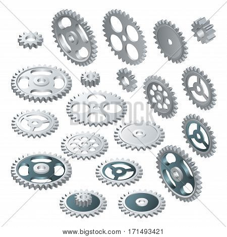 Isometric big set of a Gear wheels. Vector futuristic technology. Illustration hi-tech, engineering, digital telecoms concept. With space for content, web- template, business tech presentation.