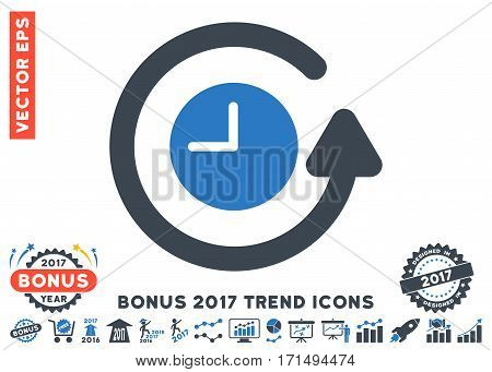 Smooth Blue Restore Clock pictograph with bonus 2017 year trend pictograph collection. Vector illustration style is flat iconic bicolor symbols white background.