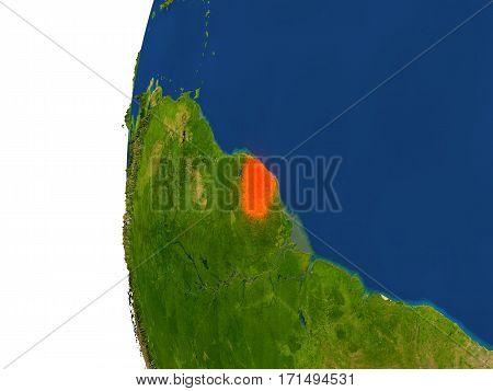 French Guiana On Globe