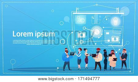 Business People Group Remote Workers Training Conference Presentation Seminar Flat Vector Illustration