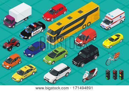Car icons. Flat 3d isometric high quality city transport. Sedan, van, cargo truck, off-road, bus, scooter, motorbike, riders, ATV Set of urban public and freight transport