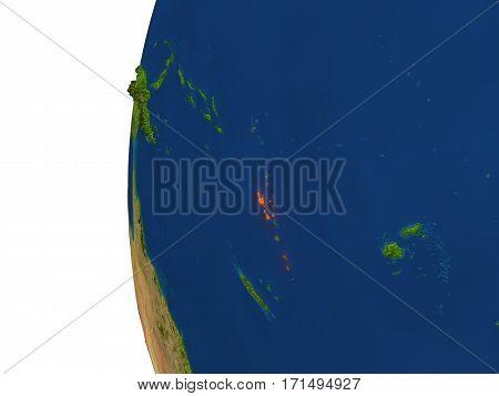 Vanuatu On Globe