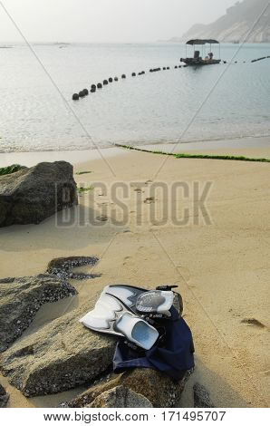 Pair of flippers for diving snorkeling or swimming in sea on rock