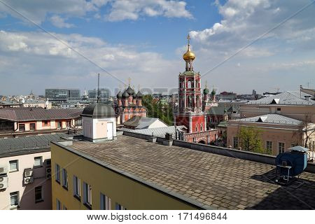 Aerial view of the high Monastery of St Peter and historic buildings in the center of Moscow, Russia.