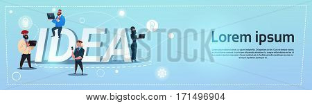 Business People Group New Idea Concept Creative Brainstorm Cooperation Banner Flat Vector Illustration
