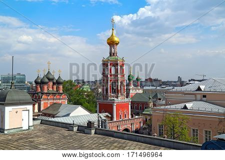 Panoramic view of the high Monastery of St Peter and historic buildings in the center of Moscow, Russia.