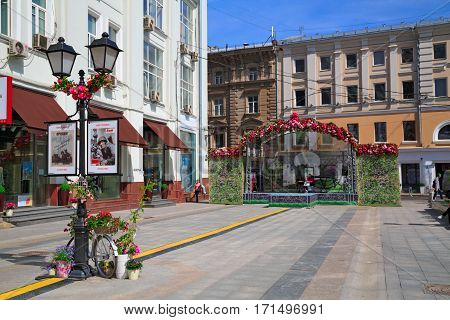 MOSCOW/ RUSSIA - MAY 9. Decoration of Stoleshnikov Lane in the center of Moscow for the Victory Day on May 9, 2014. Russia.