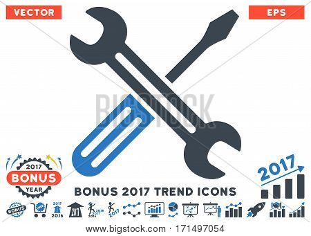 Smooth Blue Spanner And Screwdriver pictograph with bonus 2017 trend icon set. Vector illustration style is flat iconic bicolor symbols white background.