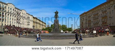 MOSCOW/ RUSSIA - MAY 8. Annual Spring Fair on Tverskaya Square in the center of Moscow near the monument to Yury Dolgoruky on the eve of Victory Day. Panorama