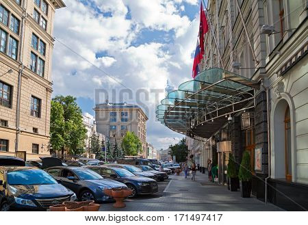 MOSCOW/ RUSSIA - JULY 18. Neglinnaya street in front of the hotel Peter the 1st and the Central Bank of Russia on July 18, 2014. Moscow, Russia.