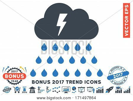 Smooth Blue Thunderstorm Rain Cloud icon with bonus 2017 year trend design elements. Vector illustration style is flat iconic bicolor symbols white background.