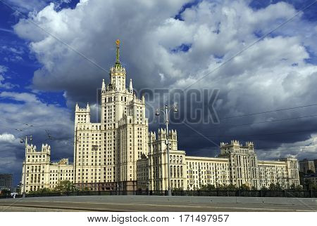 High-rise Stalin residential building on Kotelnicheskaya embankment built 1938-1952. Moscow, Russia.