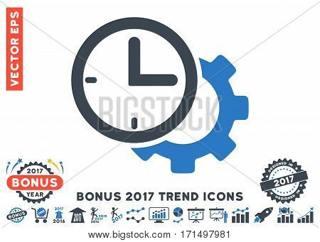Smooth Blue Time Setup Gear icon with bonus 2017 year trend design elements. Vector illustration style is flat iconic bicolor symbols white background.