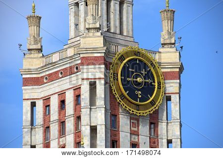 The thermometer on the tower of Moscow State University. Moscow, Russia.