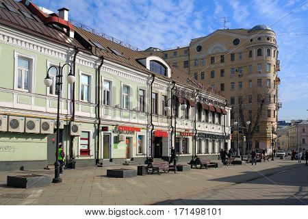 MOSCOW/ RUSSIA - MARCH 20. Pedestrian zone in Klementovskiy lane on March 20, 2015. Moscow, Russia.
