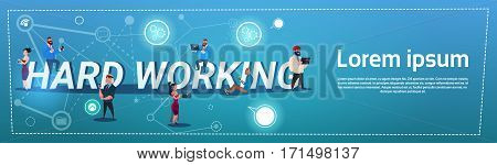 Business People Team Overworked Mix Race Hard Working Concept Flat Vector Illustration